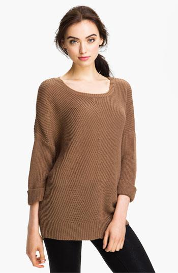 Caslon Ribbed Tunic Sweater-Dark Camel $34.49 | Fashion Polizei